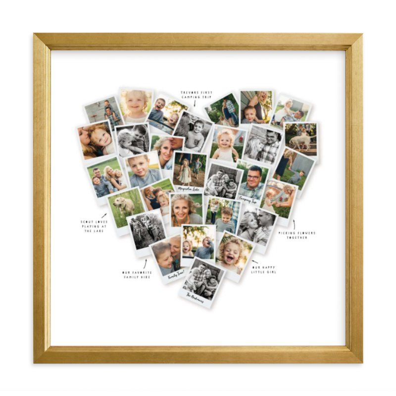Photo Collage White Custom Photo Art From Minted By Independent Artist Minted Called Captioned Heart Snap In 2020 Photo Art Heart Photo Collage Custom Photo Art Print