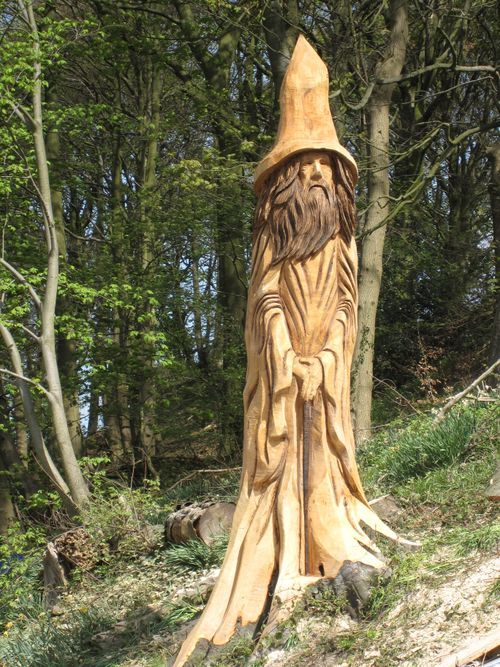 A stump of artistry chainsaw carver turns wood into works of art