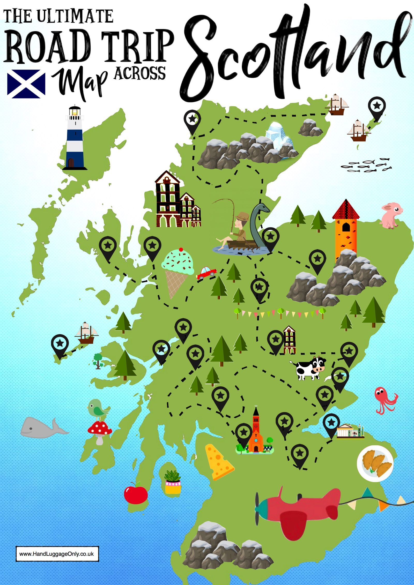 Ultimate Map Of Things To See When Visiting Scotland Scotland Road Trip Road Trip Map Visit Scotland