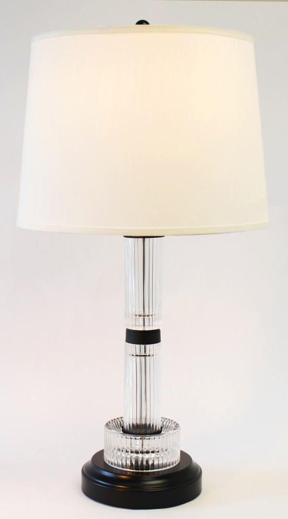 Cordless Vintage Antique Cast Fluted Glass Table Lamp Etsy Glass Table Lamp Lamp Flute Glass
