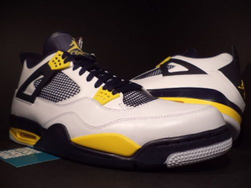 new concept 4d2c4 4e809 Nike Air Jordan IV 4 Retro CAL MARQUETTE PE SAMPLE WHITE NAVY BLUE YELLOW  DS 17