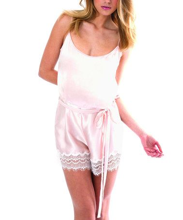 7b845fa701 Loving this Pink   White Silk Romper - Women on  zulily!  zulilyfinds