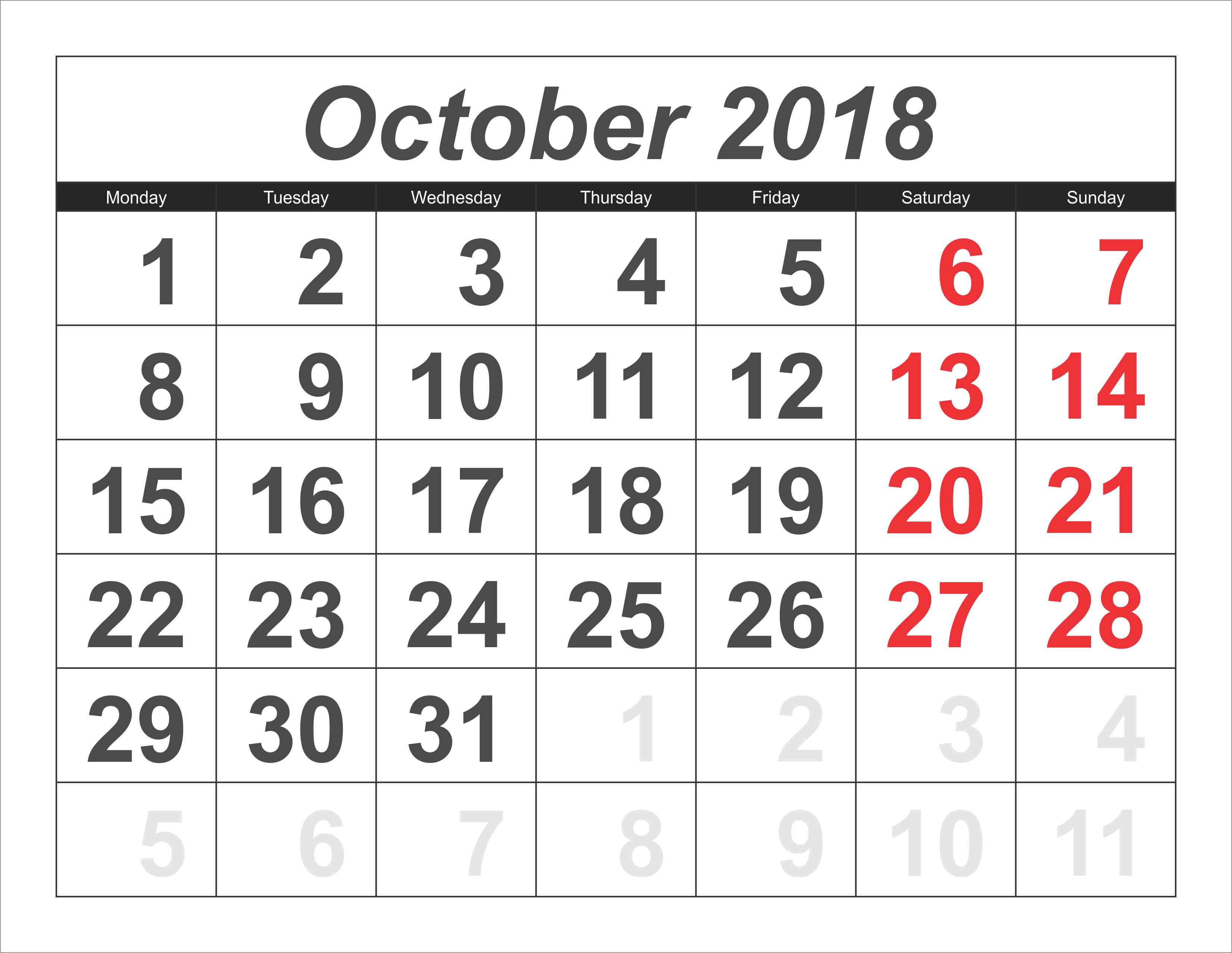 October 2018 Google Calendar October 2018 Calendar Pinterest