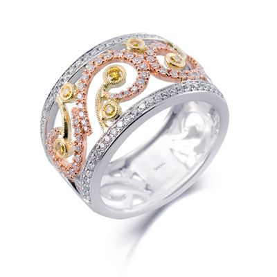 feb7cf761 This fabulous 18K white, yellow and rose ring is comprised of .47ctw round  white Diamonds and .12ctw round yellow Diamonds. MR2077