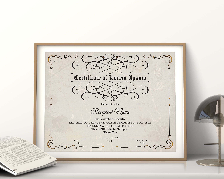 Printable Blank Certificate Template Editable Certificate Etsy In 2020 Blank Certificate Template Certificate Templates Editable Certificates