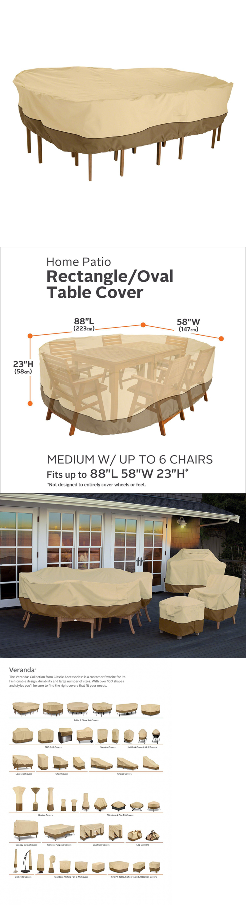 Outdoor Furniture Covers 177031: Classic Accessories Veranda Rectangular Oval  Patio Table And Chair Set Cover