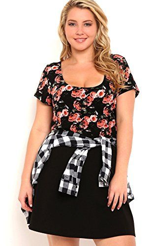 323b6da9113 Fashion Bug Missy Plus Size Short Sleeve Floral Print Tee with Strappy Bow  Back. www