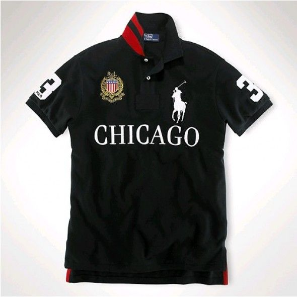 Ralph Lauren Men CHICAGO Black White Big Pony Polo http://www.ralph