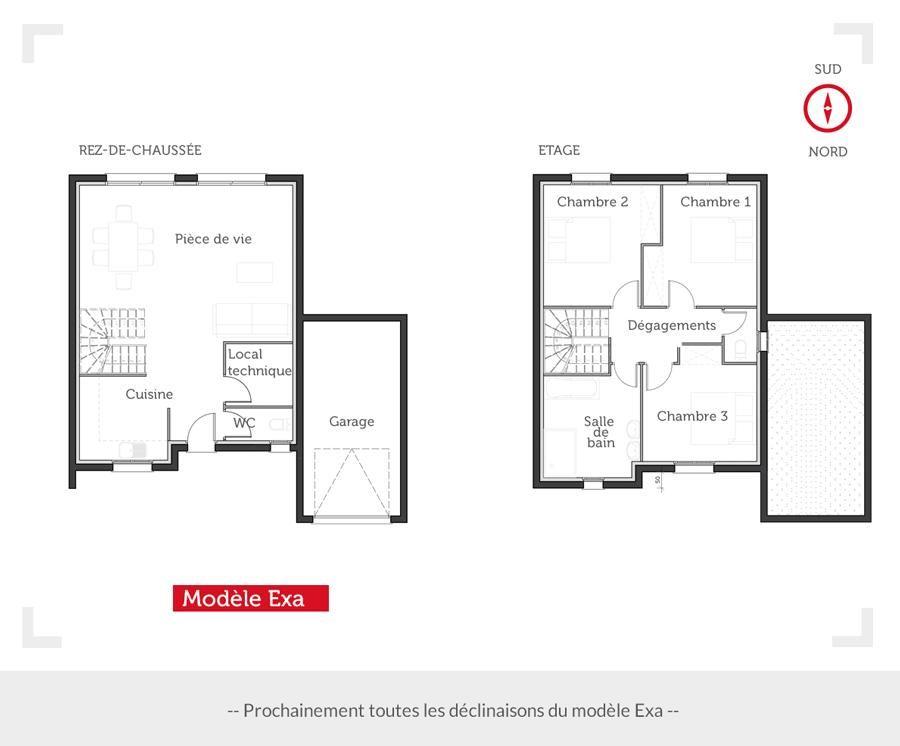Plan maison 4 chambres 130m2 for Plan maison facade