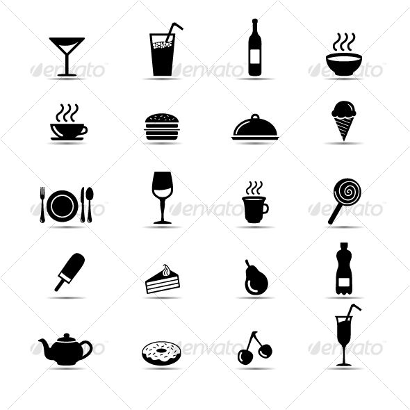 and white food icons vector eps minimalist available here a https graphicriver net item set of simple black and white food icons 36861 ref pxcr