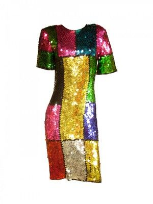 165f152873 1980s Colorblock Sequin Dress | Somewhere Over the Rainbow ...