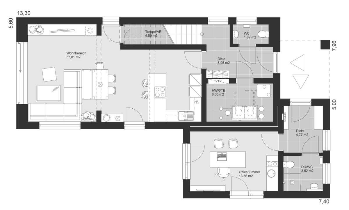 Einfamilienhaus schmal Grundriss Erdgeschoss mit Büro