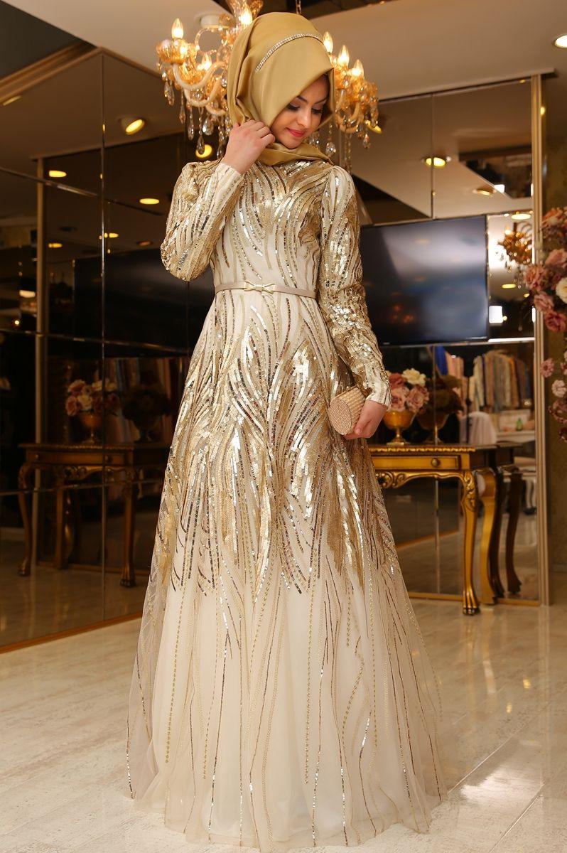 Pinar Sems Yosun Abiye Gold Ala Tesettur Tesettur Giyim Modasina Yon Veren Tasarimlar Gaya Abaya Model Pakaian Hijab Pakaian Wanita