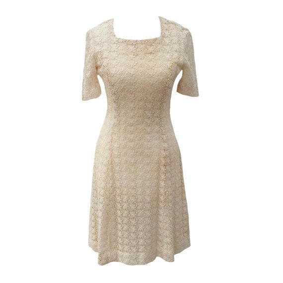 1950s cream lace vintage cocktail dress by LMDvintage on Etsy