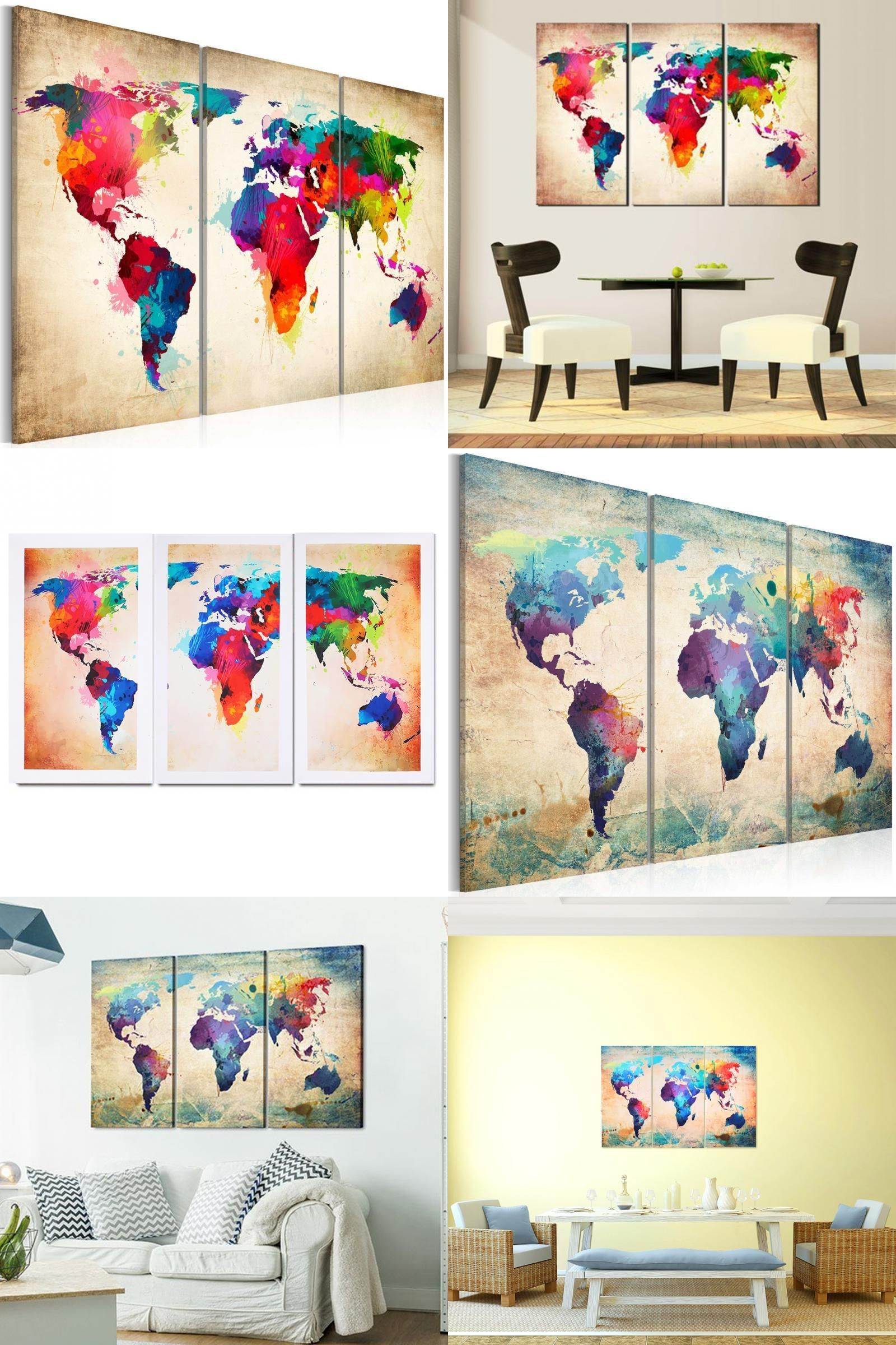 Visit to buy vivid oil painting world map environmental visit to buy vivid oil painting world map environmental professional decorative painting canvas triple world map wall sticker home decoration gumiabroncs Images