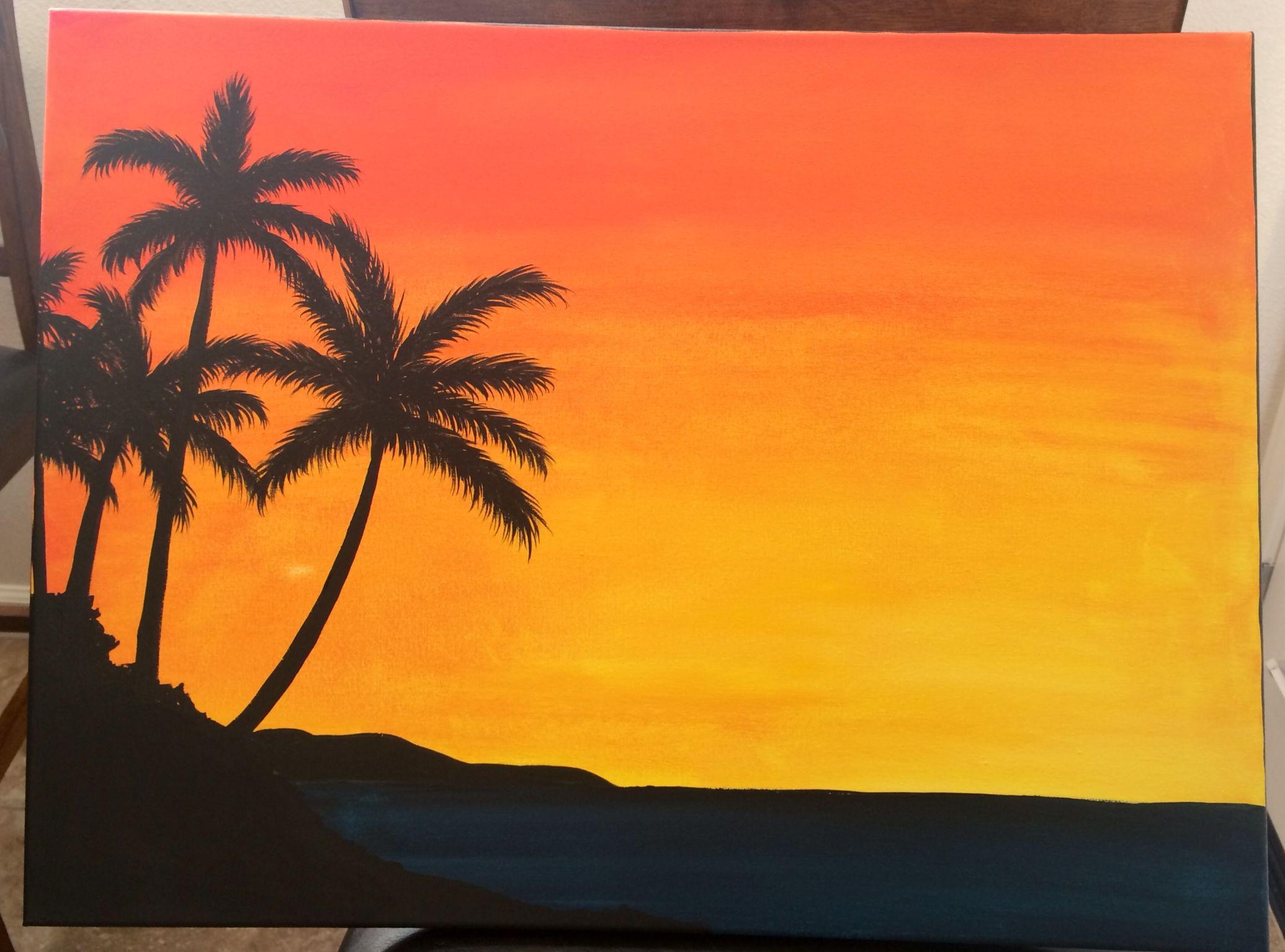 Sunset Sunrise Palm Trees Painting Tree Painting Painting