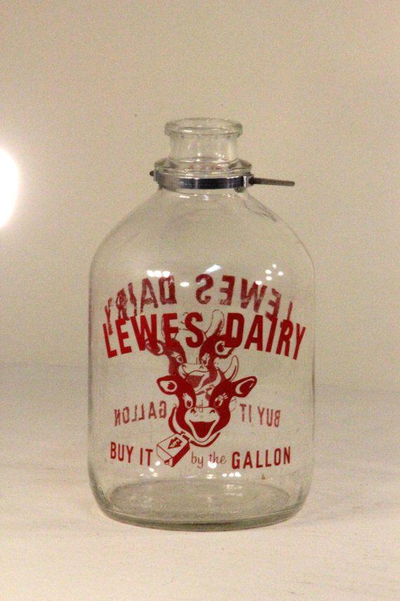 Vintage Large Gallon Lewes Dairy Clear Glass By Fairoaksantiques Vintage Milk Bottles Large Glass Bottle Gallon