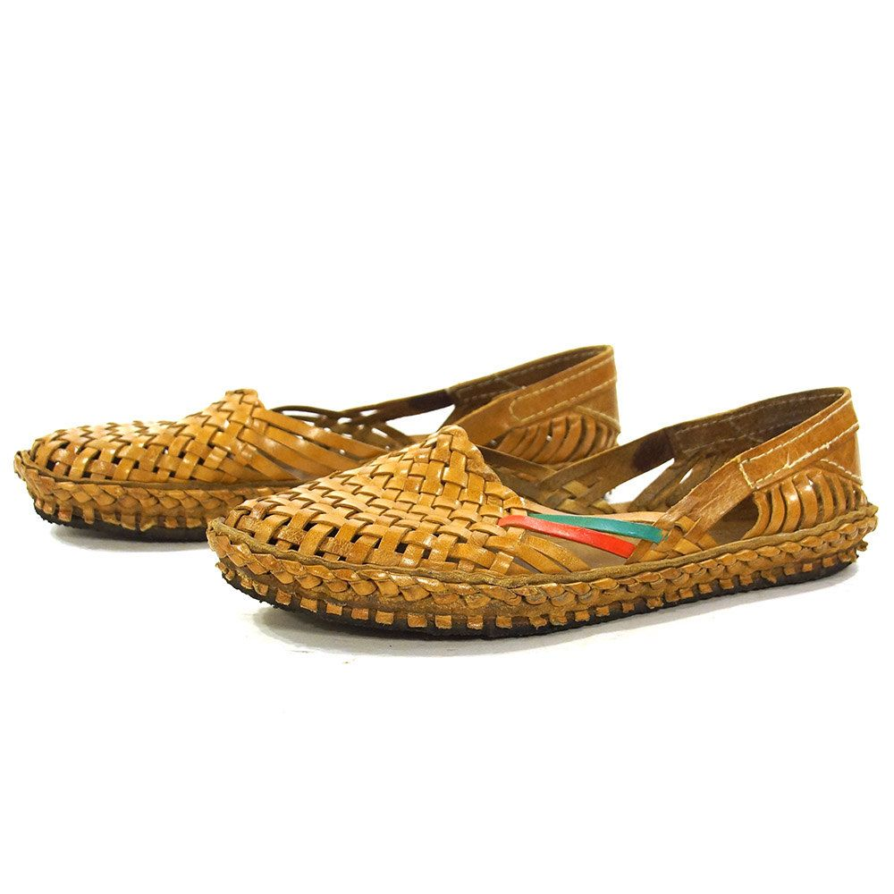 24b71ba4fd17c 90s Huaraches / Vintage 1990s Brown Woven Leather Slip On Sandals ...