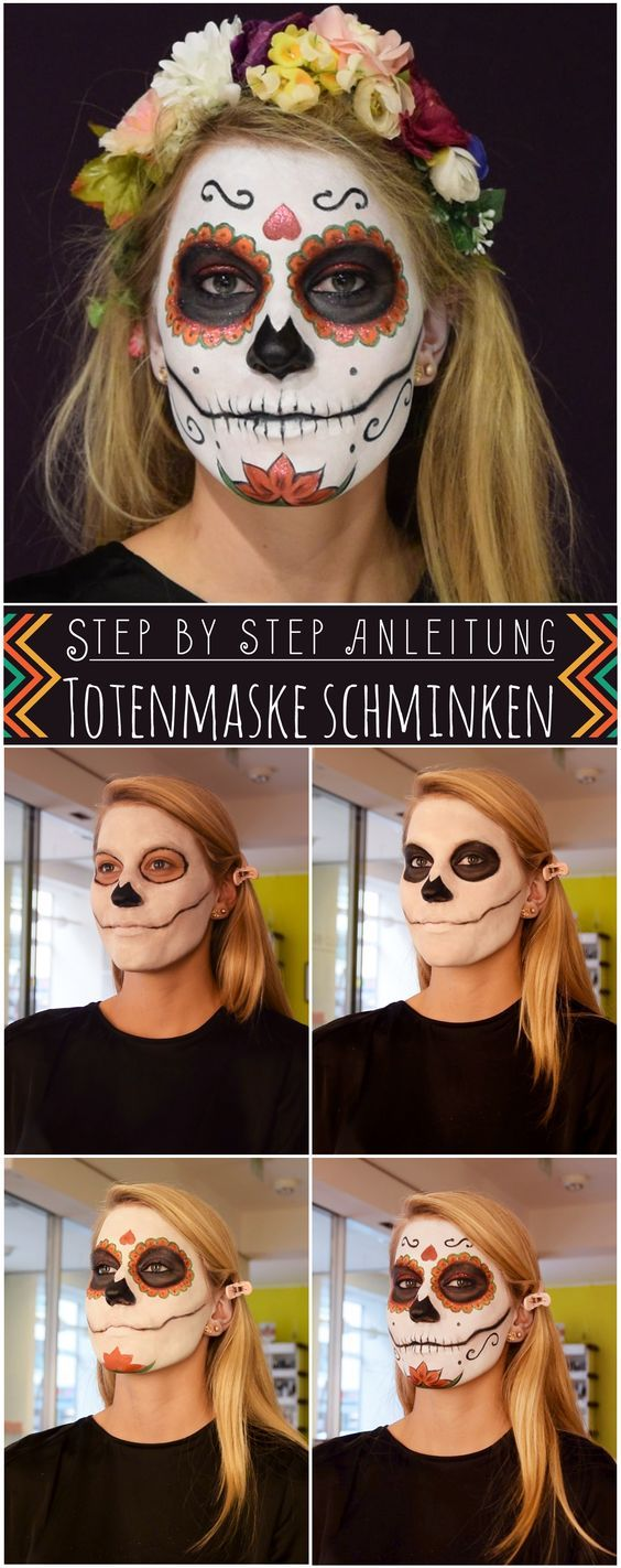 Halloween Make Up Anleitung Totenmaske Schminken Step By Step Anleitung Halloween Costumes