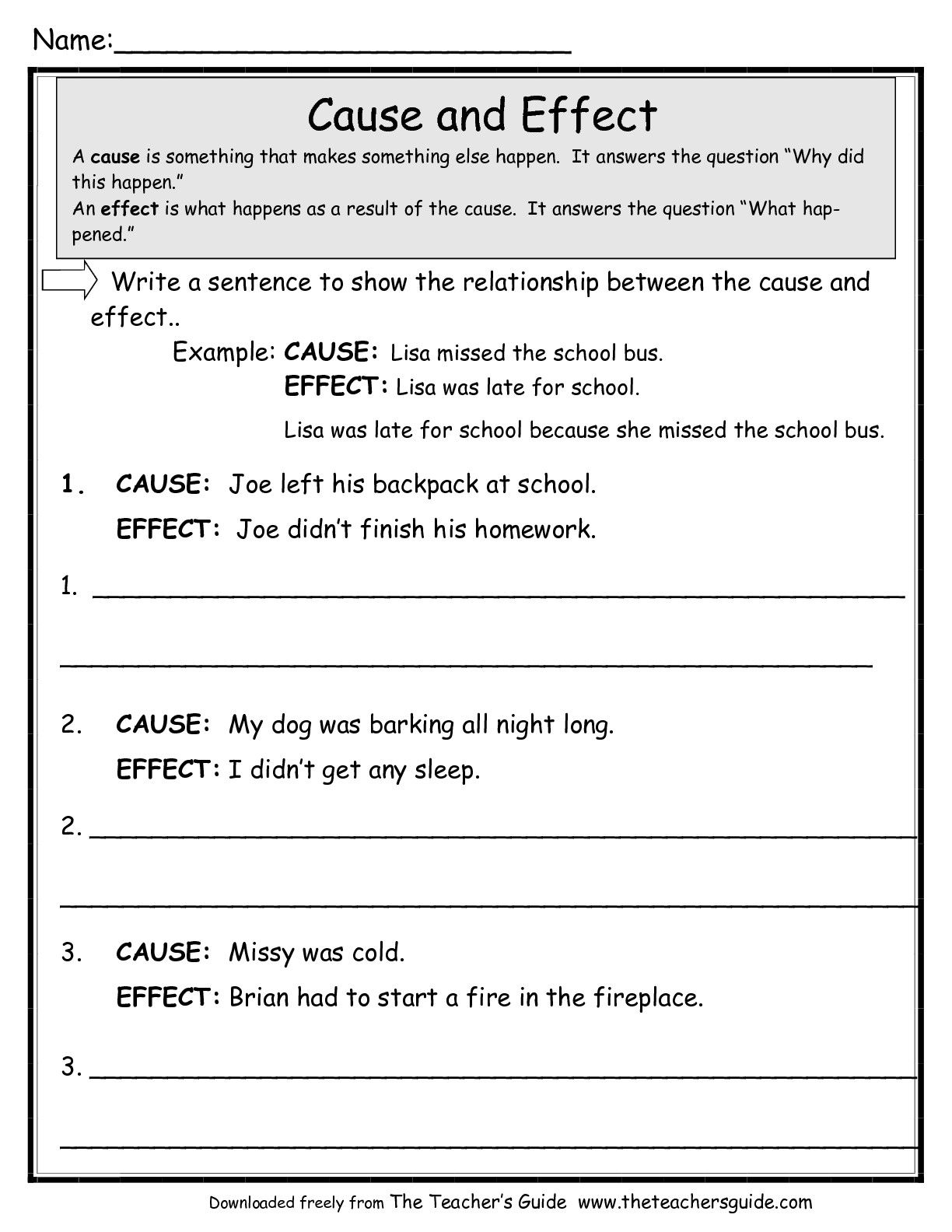 worksheets for various reading skills Language Arts – Cause and Effect Kindergarten Worksheets