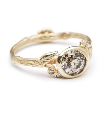 Sofia Kaman Fine Jewels - Champagne Diamond Twig and Daisies Solitaire Engagement Ring, $3,600.00 (http://www.sofiakaman.com/champagne-diamond-twig-and-daisies-solitaire-engagement-ring/)