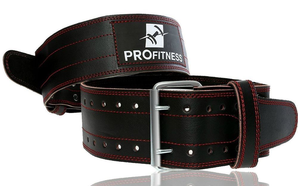 Real Black Leather Two Prong Weight Lifting Belt Gym Squat Back Deadlift Strap