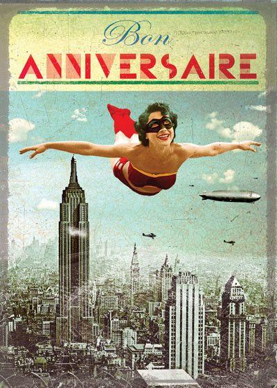 Carte Double Bon Anniversaire Super Heroine Joyeux Anniversaire Retro Anniversaire Retro Bon Anniversaire