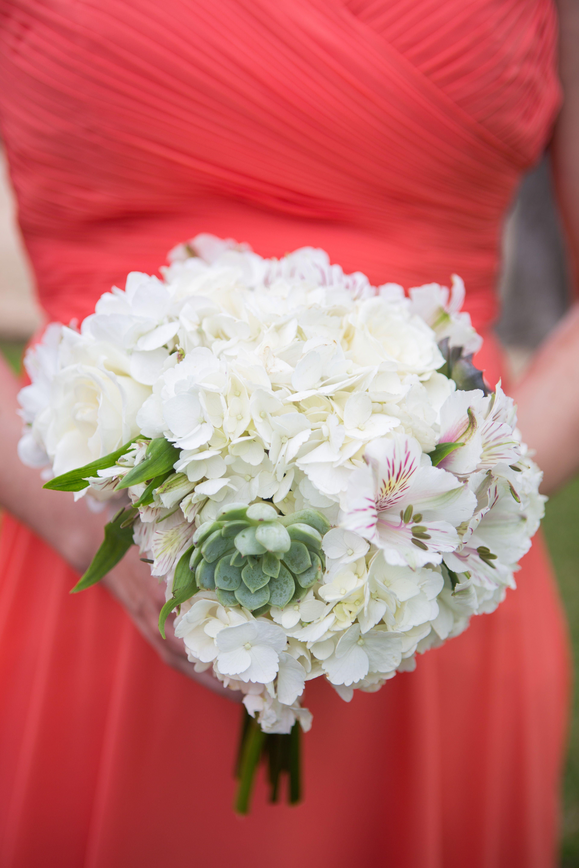 White Hydrangea Bridesmaid Bouquet with Succulent and Alstroemeria ...