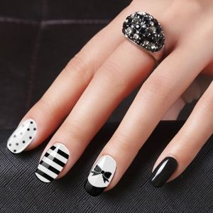 White with Black Color Nail Art