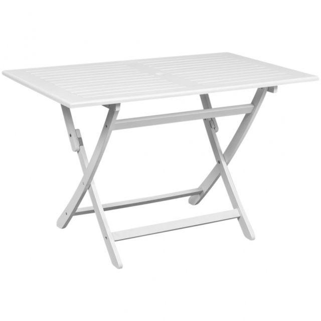 Casasmart Table de jardin blanche en Acacia   Mobilier de jardin ...