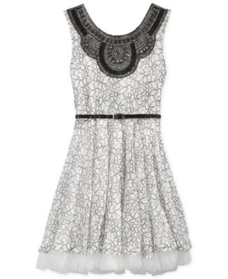 Beautees Girls' Sleeveless Belted Lace Dress