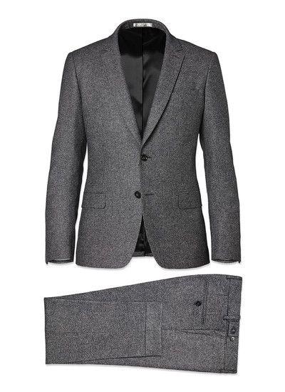 7a9b81c915e721 Costume homme en flanelle de laine   achetez votre costume gris chiné slim  17HC3KOBA-A505