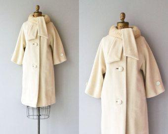 Cuello del abrigo de visón de Lilli Ann | abrigo de cuello de piel Vintage años 1960 | abrigo de lana crema 60s