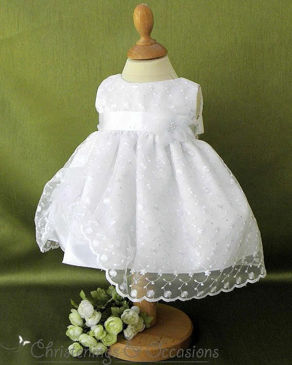 050009a27 Baby girls white embroidered chiffon christening / occasion dress with  large flowers
