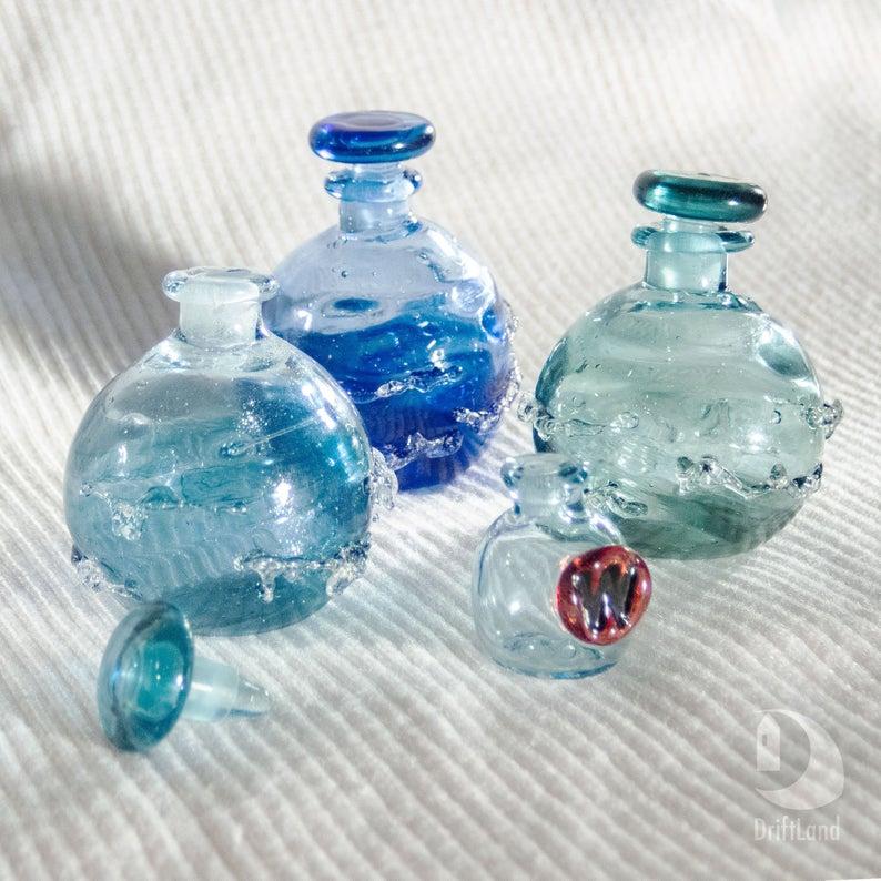 Empty Glass Vial Ocean Perfume Bottle Personalized Glass Art Etsy Glass Art Sculpture Glass Art Projects Wave Glass