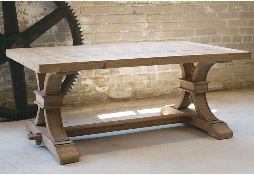 Bon French Country Farmhouse Wood Trestle Coffee Cocktail Table $400