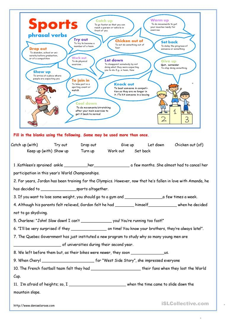 Sport phrasal verbs Verb worksheets, English vocabulary