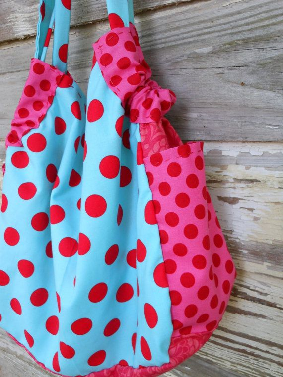 Turquoise and Pink Slouchy Purse Tote Bag by JBCountryCouture, $45.00