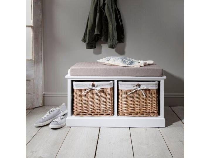 Wicker Baskets Coat Racks, Fyfield Coat Rack With Shelf Storage Baskets White