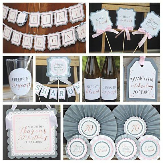 70th BIRTHDAY DECORATIONS Wine Labels Cheers To 70 Years Rose Gold Silver Blush Pink Ladies B