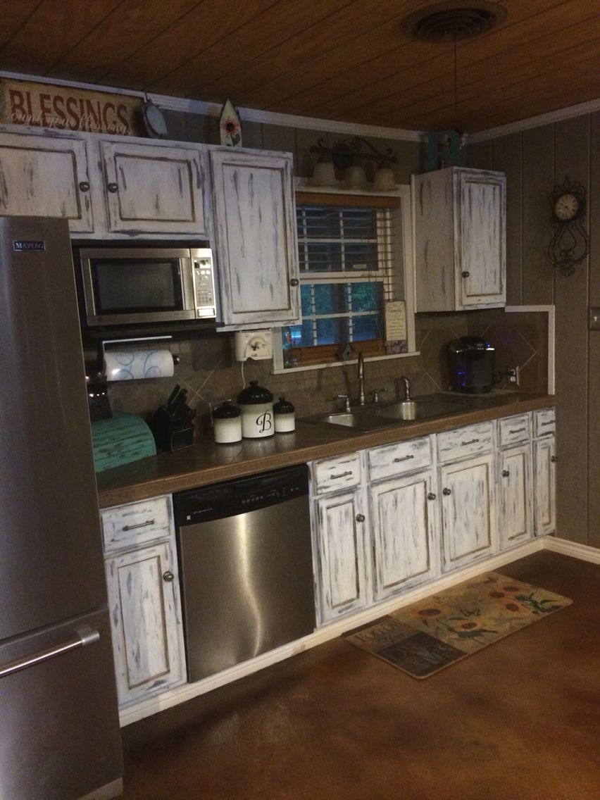 Rustic, distressed kitchen cabinets! | Distressed kitchen ...