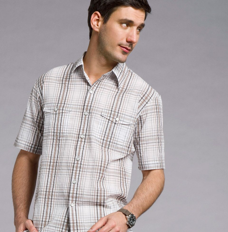 Studio Camp Shirt  A staple from our Studio Collection, this plaid seersucker Camp Shirt is 100% cotton and features shirt tail bottoms and cuffed sleeves. Pairs perfectly with our light Flat Front Twill Pants.
