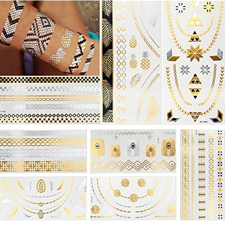 8 Sheets Flash Gold Metallic Jewelry Chain Temporary Tattoo Sticker Henna Paper Bar Beach Party Read More At Th Metal Tattoo Tattoo Stickers Chains Jewelry