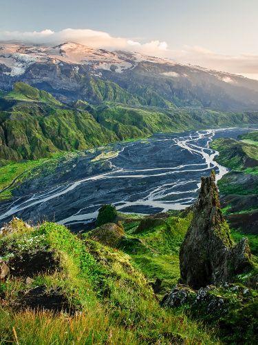 Thormork Mountain Ridge in Iceland.