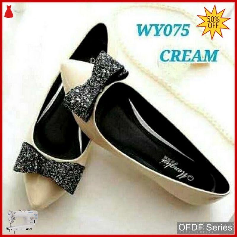 Ofdf225 Sepatu Flat Cantik Glitter Flatshoes Cream Sepatu Kaki