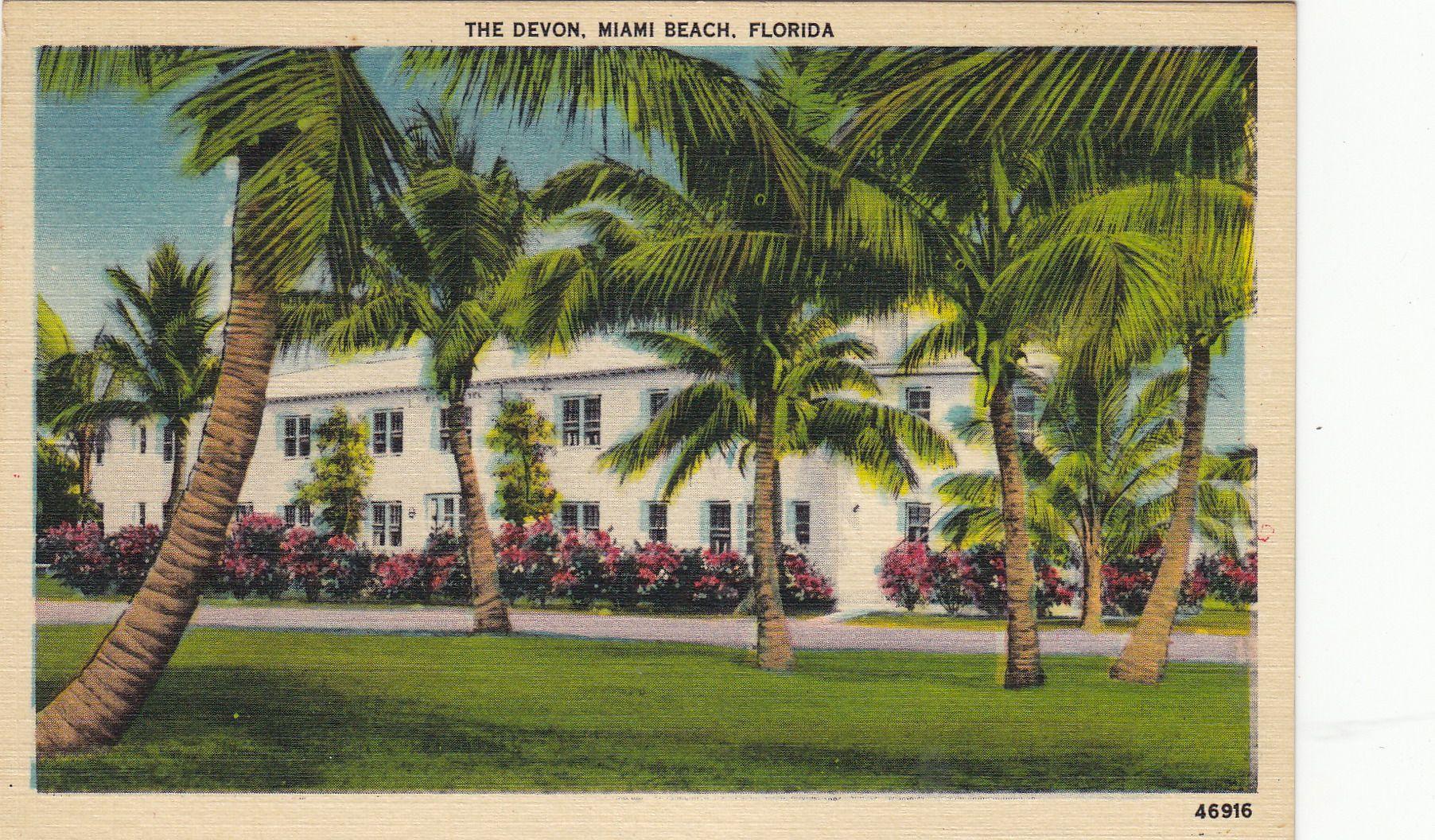 Devon hotel miami beach fl vintage postcards miami for Art deco hotel devon