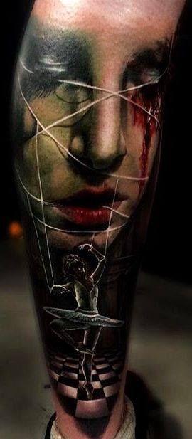 Tattoo Face Red Lips Chess Ballet Dancer Puppet Ink