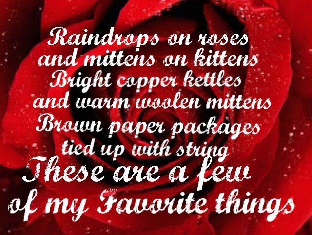 Raindrops on roses and whiskers on kittens Bright copper