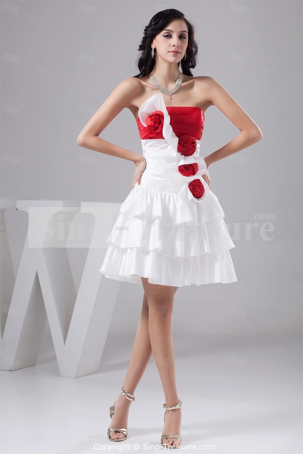 Beautiful white red hourglass handmade flowers short mini prom
