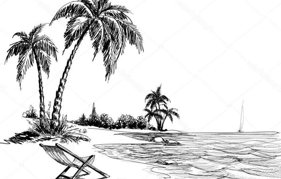 23 Lukisan Pemandangan Pantai Hitam Putih Di 2020 Membuat Sketsa Sketsa Lukisan